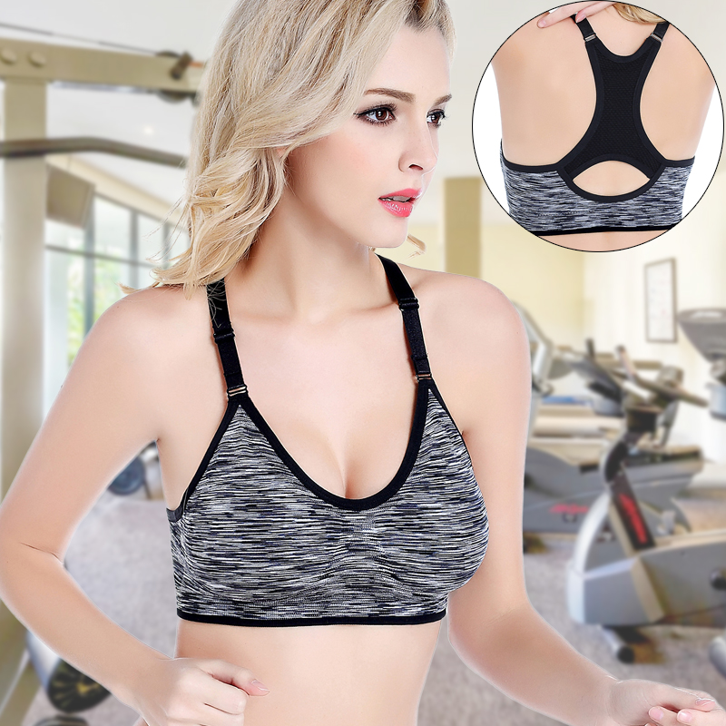 No Steel Ring Fitness Seamless Dazzle Color Sports Underwear Women Shock-proof Paragraph Dyed  Running Sleep Bra  D6188