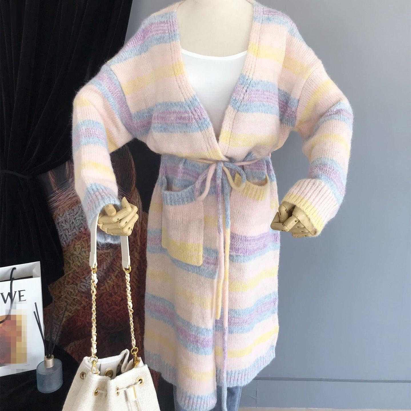 Vintage arc-en-ciel rayure Cardigan chandails femmes poches chandail manteau à lacets Long chandail tricoté