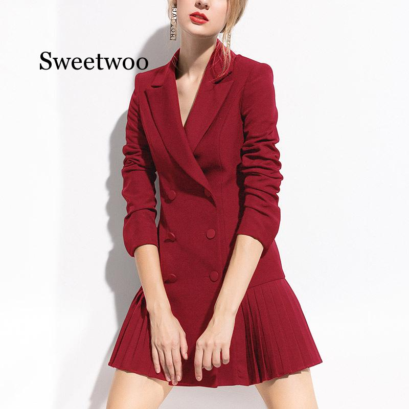 Autumn Fashion Blazer Women Dress Suits Double Buttons Shawl Collar Long Sleeve Pleated Blazers Dress Suit Jacket