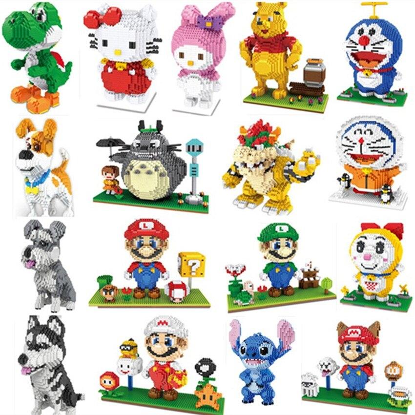 Мини-блоки Totoro, большие размеры, милые модели Mario stitch Sence, кирпичи в сборе, игрушки для детей, подарки, черепаха, игрушки для детей