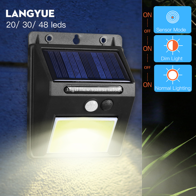 3 Mode 20/30/48 Led Solar Lamp with Motion Sensor Waterproof Outdoor Wall Lamp Night Light for Garden Street Fench Lighting
