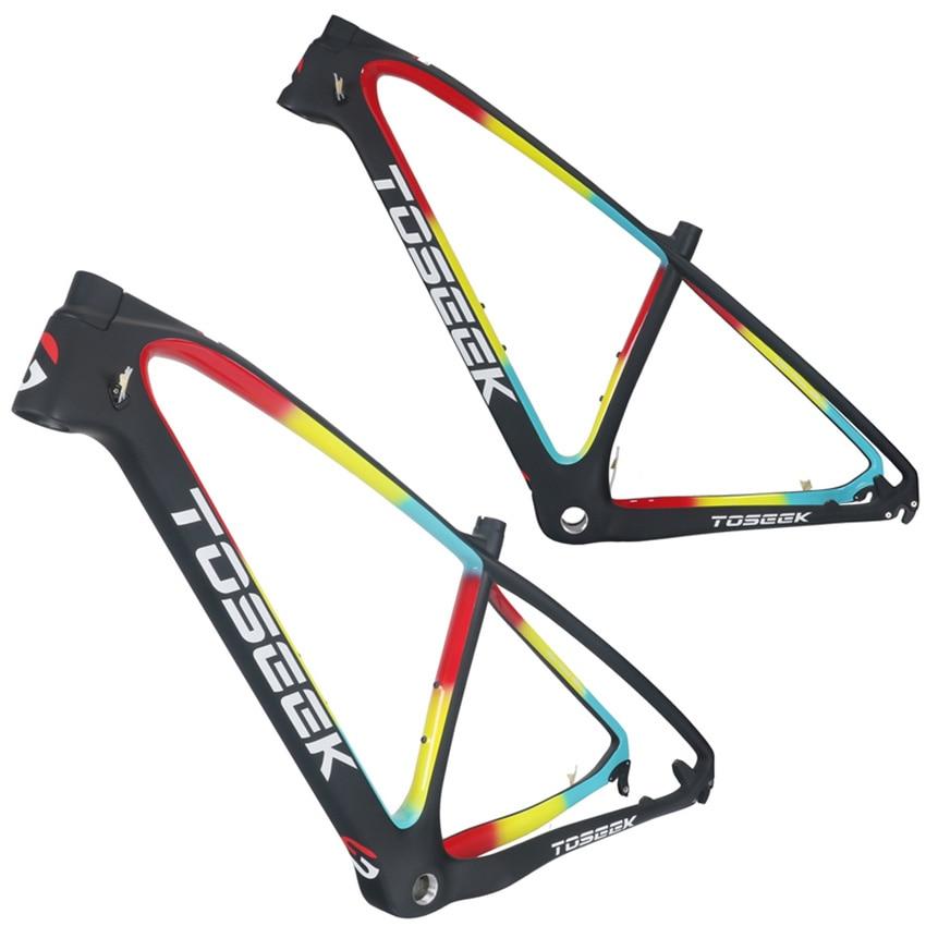 Toseek MTB Mountain Bike Frame 26 27.5er * 15 17 19 inch Full carbon Suspension T800 high carbon fiber Bicycle Frame parts