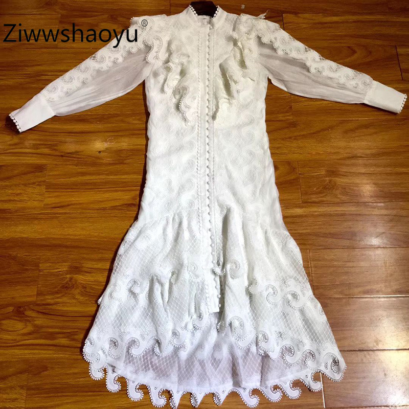 Ziwwshaoyu Women's Elegant Party High End Hollow Embroidery Tiered Ruffle Single-Breasted White Autumn Winter Midi Dresses