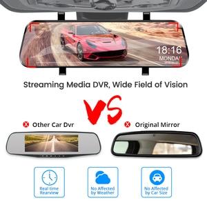 Image 3 - E ACE 10 дюймов сенсорный автомобильный видеорегистратор потоковое медиа зеркало видеорегистратор FHD 1080P видеорегистратор двойной объектив Поддержка 1080P камера заднего вида GPS