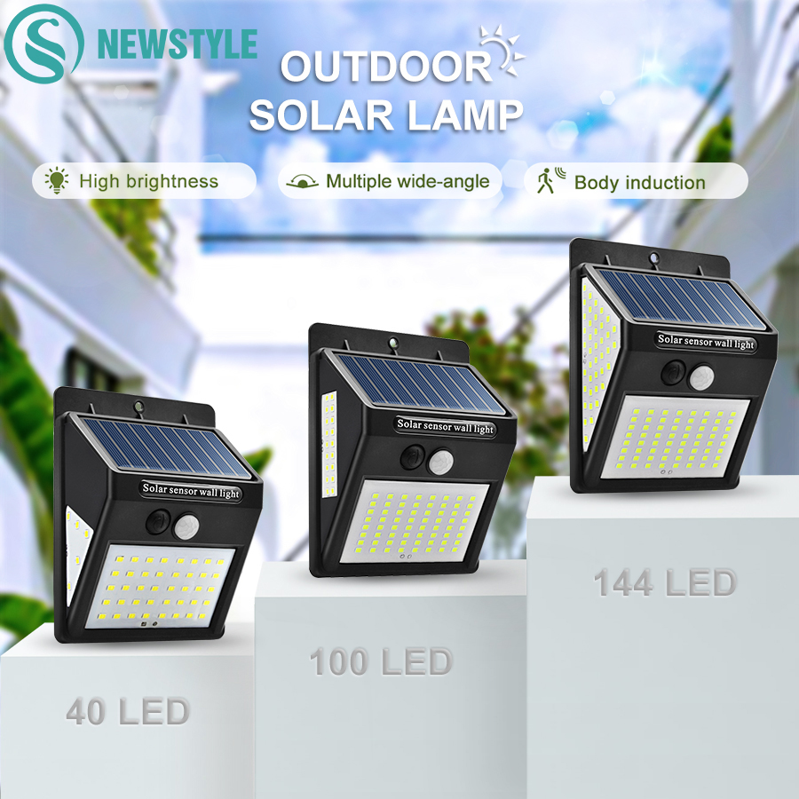 40/100/144 LED Outdoor Solar Wall Lamp PIR Motion Sensor Waterproof Light Garden Path Emergency Security Light 3 Sided Luminous