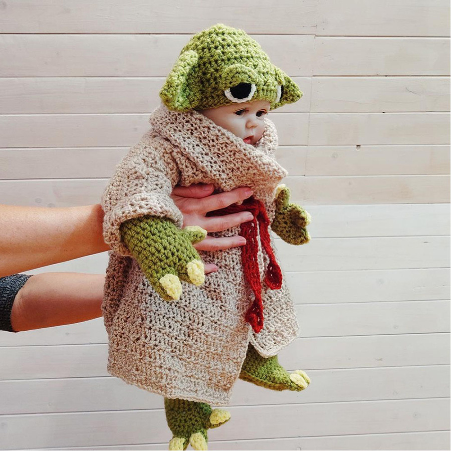 Yoda Style Newborn Infant Baby Photography Prop Crochet Knit Costume Set Handmade Toddler Cap Outfits for Baby Shower Gift (16)