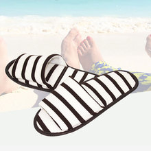 Home Slippers Flip Flops Striped Slippers Indoor Bedroom Women House Shoes Spring Autumn Ladies Footwear Unisex Flat Shoes fayuekey sweet spring summer autumn winter home fashion plush slippers women indoor floor flip flops for girls gift flat shoes