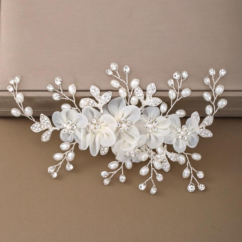 Wedding white Flower Hairpins Headdress Hair Combs for Bride Rhinestones Women Hairpins Bridal Tiaras Hair Combs Jewellery