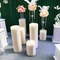 3pc Round Cylinder Pedestal Display Rack Art Pillars for DIY Wedding Decor Plinths Holiday Creative Dessert Table Stand Columns