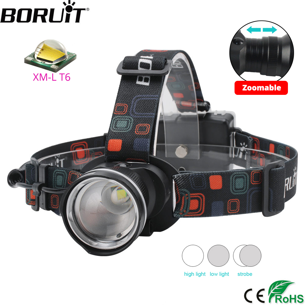 BORUiT RJ-2166 4000LM T6 LED Headlight 3-Mode Zoom Headlamp Waterproof Head Torch Camping Hunting Flashlight By AA Battery