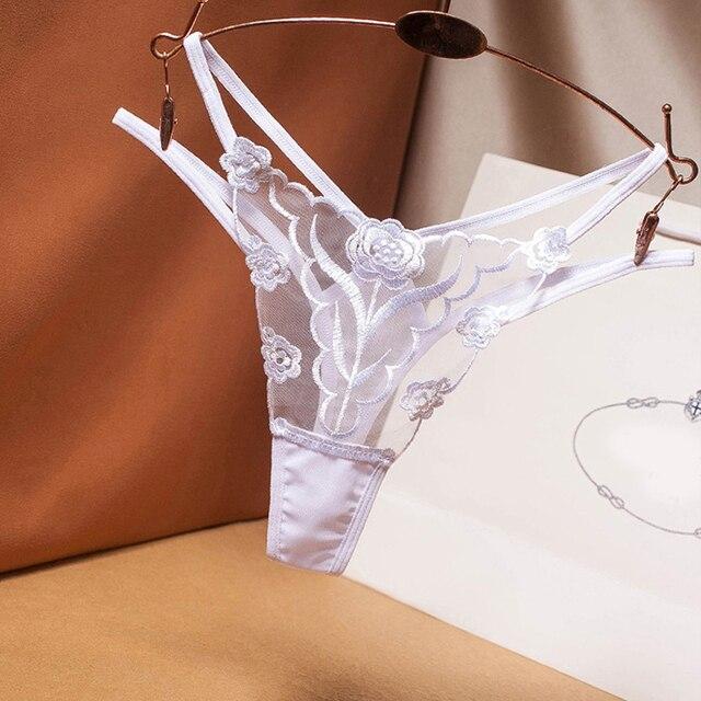 Seksowna haftowana siatkowa przędza damska stringi przezroczysta perspektywa młoda kobieta pokusa bielizna moda hot T spodnie stringi