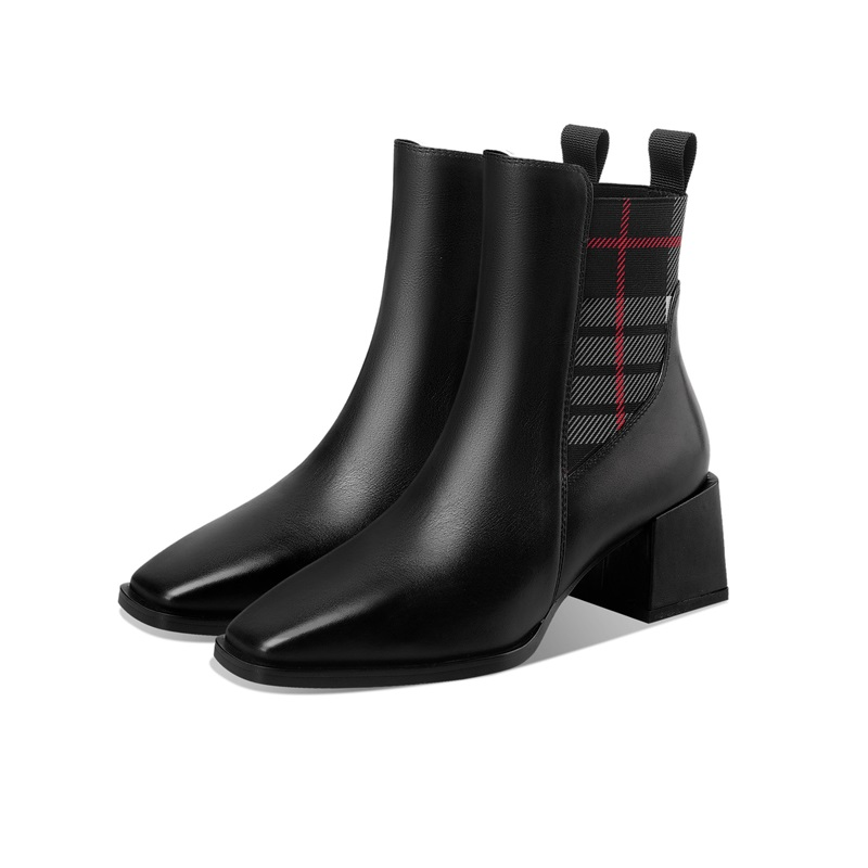 brand designer genuine leather woman ankle boots slip-on square toe square high heel solid cool shoes ladies footwear black boot