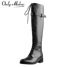 Lady Boots Lace-Up Onlymaker Side-Zipper-Knee Toeblack Big-Size Women's Fashion Round