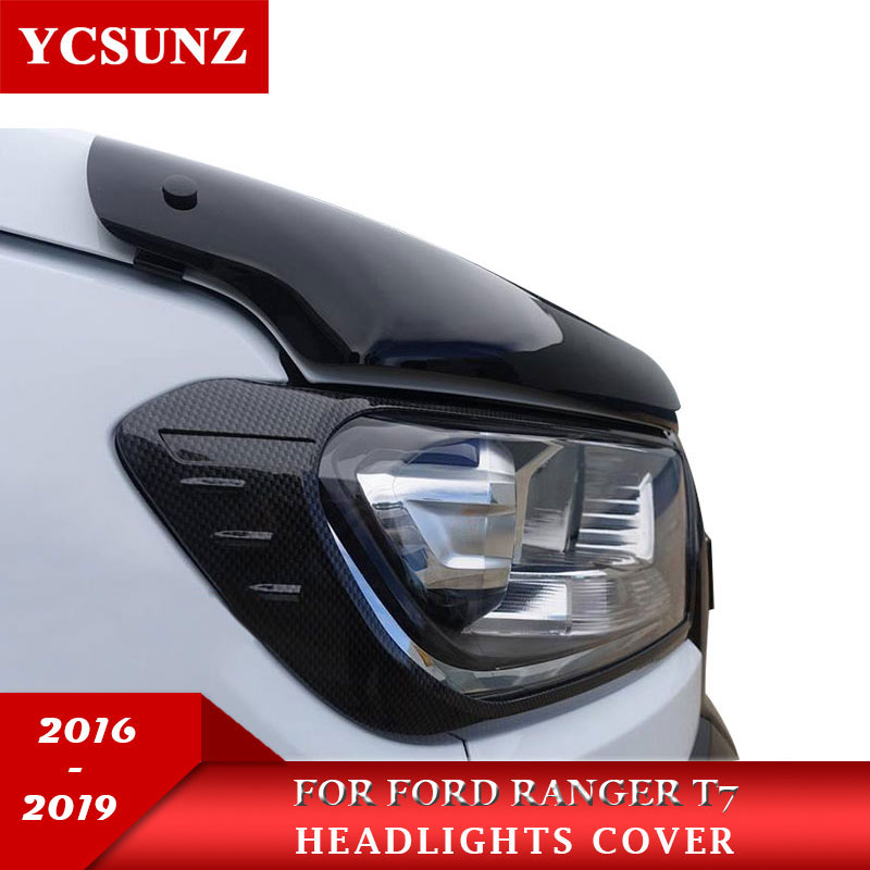 Cor de fibra carbono faróis capa para ford ranger t7 t8 wildtrak everest endeavor 2016 2017 2018 2019 2020