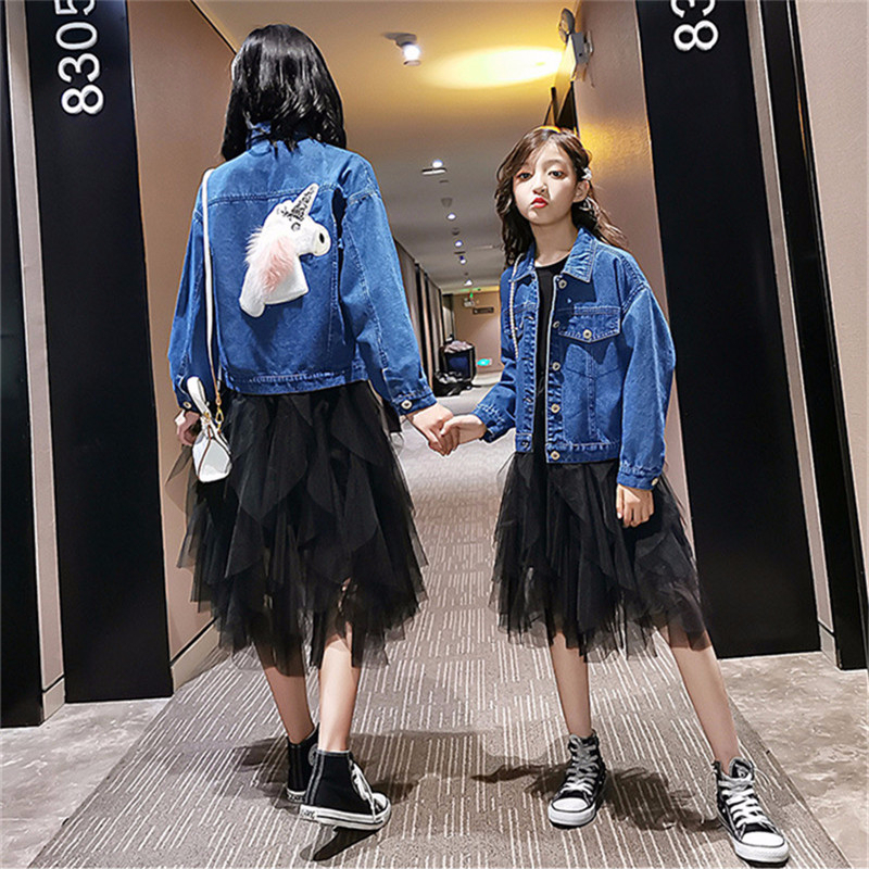 2Pcs Mom Daughter Clothes Set Lace Kids Dress For Girls Mommy And Me Denim Jacket Unicorn Coat Family Matching Clothing Outfits