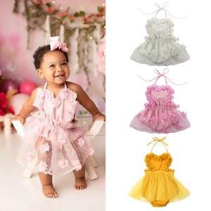 Rendas vestido de bebê recém-nascido elegante infantil criança menina floral rendas sem mangas macacão roupas férias