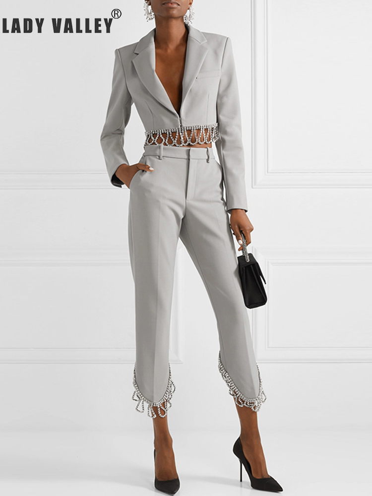 Heavy crafts beaded diamond tassel suit two-piece suit ladies spring personality temperament cropped pants fashion suit