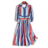 New American brand high end customized stripe small fragrance high waist mid length version dress