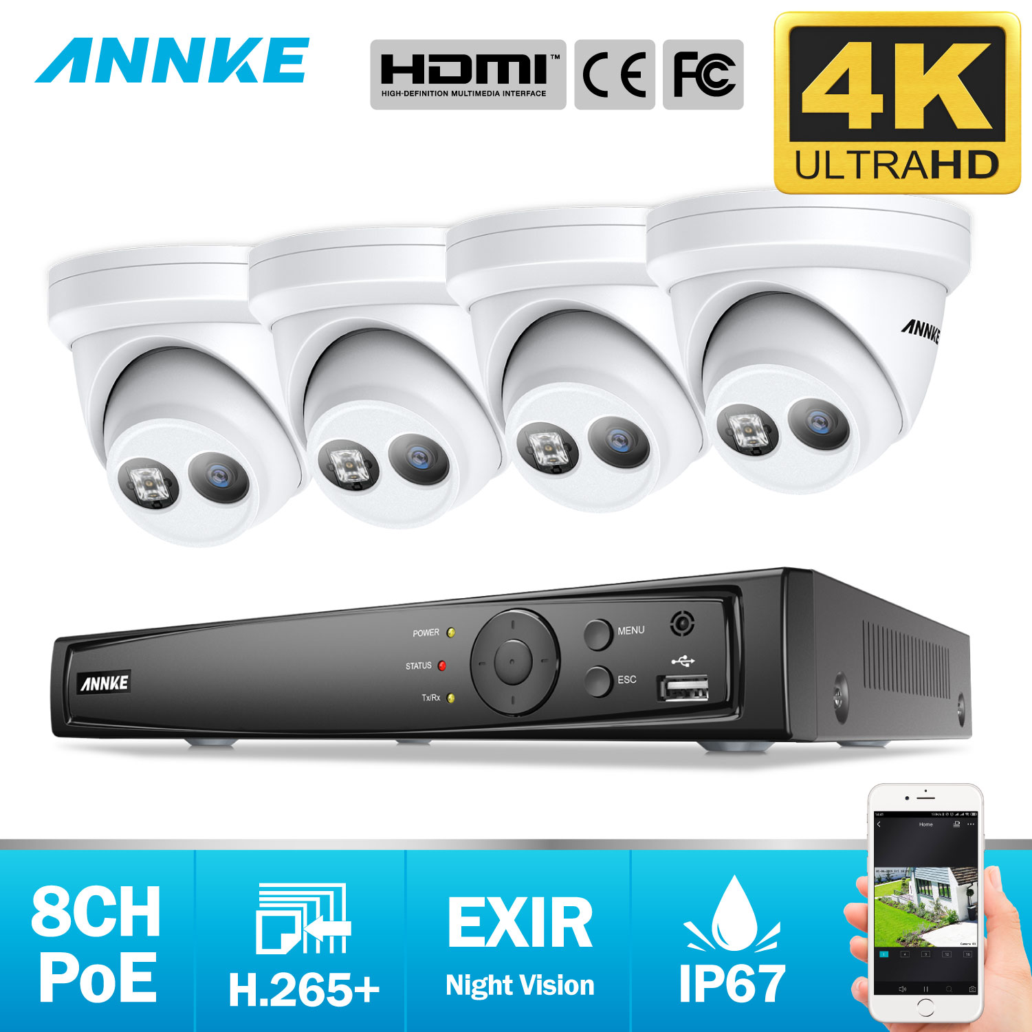 ANNKE 8CH 4K Ultra HD POE Network Video Security System 8MP H.265+ NVR With 4PCS 8MP 30m EXIR Night Vision Waterproof IP Camera