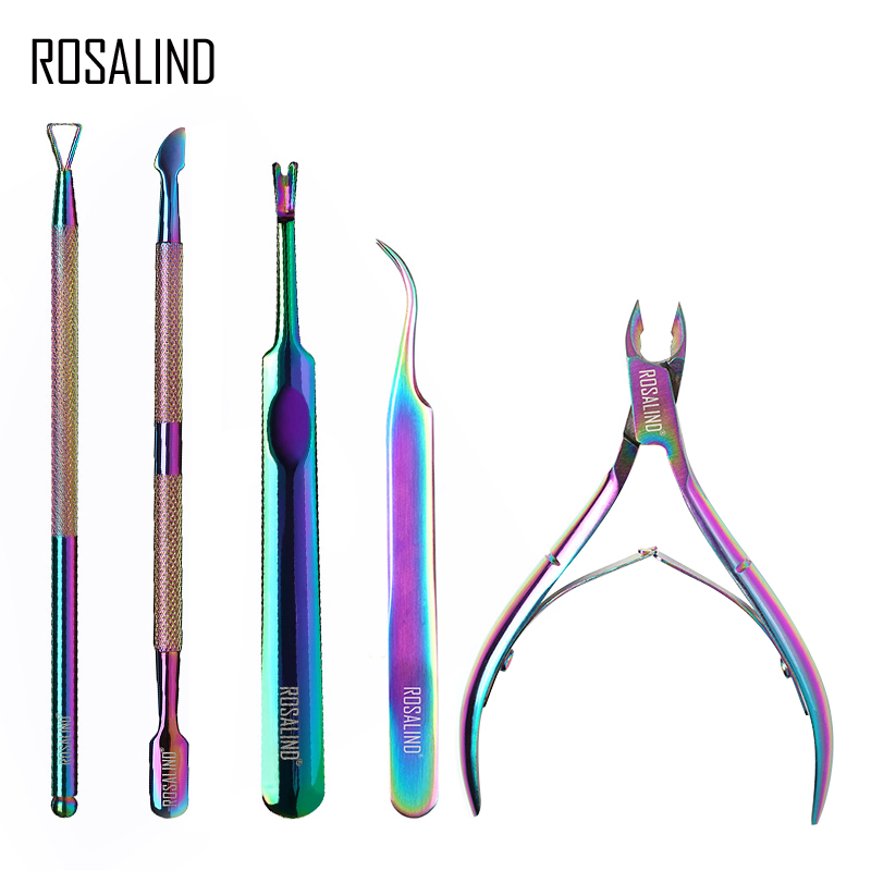 ROSALIND Manicure Set Gel Nail Polish Kit Cuticle Nipper Professional Stainless Steel Scissors Remover Acrylic Nails Art Tools