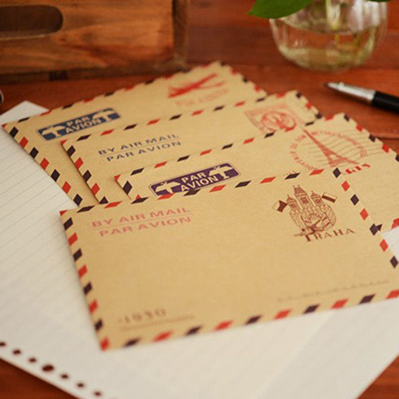10pcs/set Iron Tower Postmark Envelope Kraft Paper Chinese Classical Envelope Thickening Thick Mailpaper Student Stationery Gift