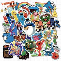 VANMAXX 50 PCS Popular Cartoon Sesame Street Stickers Waterproof PVC Decal for Laptop Helmet Bicycle Luggage Toy Car Stickers