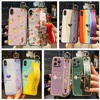 Funda de arcoíris pintada Vintage para Huawei P smart Z Plus, 2019, P20, P30, P40 Pro Lite, 5G, Nova 7se, soporte para teléfono, correa de muñeca blanda