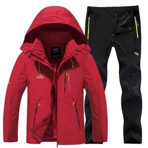 Image 3 - חדש עבה חם סקי חליפת נשים עמיד למים Windproof סקי וסנובורד מכנסיים מעיל סט נשי שלג תחפושות חיצוני ללבוש