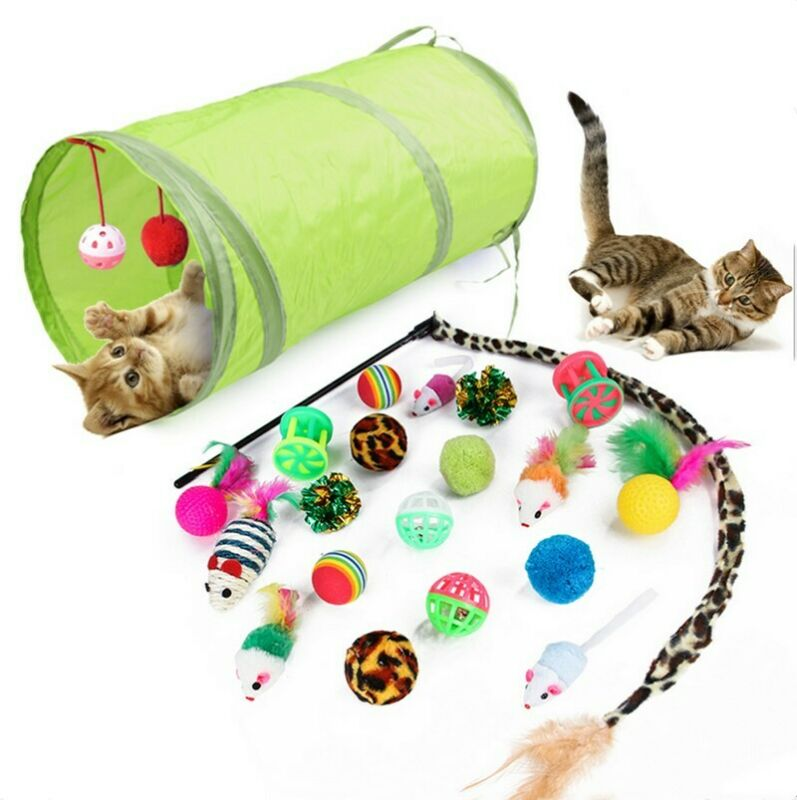 21Pcs/Set Pet Kit Collapsible Tunnel Cat toy Fun Channel Feather Balls Mice Shape Pet Kitten Dog Cat Interactive Play Supplies image