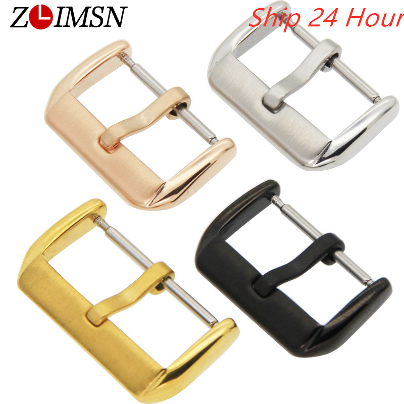 ZLIMSN 10 12 14 16 18 20 22mm Solid Stainless Steel Metal Buckle Watch Band Clasp Strap Pin Buckles Relogio Masculino