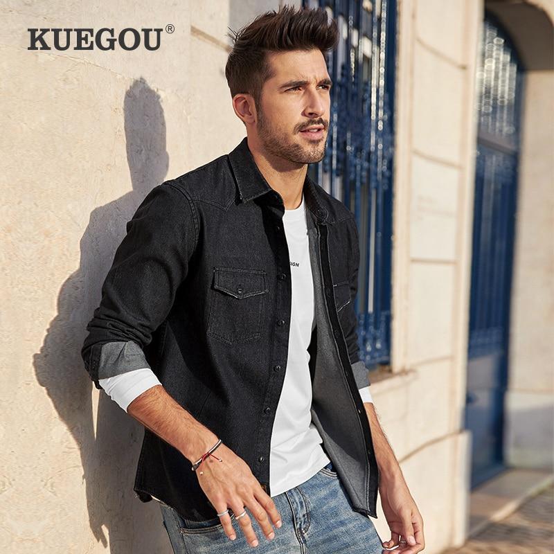 Kuegou Brand Fall 2020 New Denim Shirt Men Long Sleeve Cotton Denim Shirt Leisure Fashion Coat Lapels BC-6996