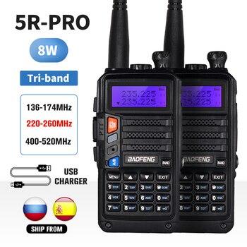 2 uds tri-band Baofeng UV 5R Pro Walkie Talkie 8W USB cargador portátil Radio amateur bidireccional UV5R transceptor UV-5R 10 transmisor KM