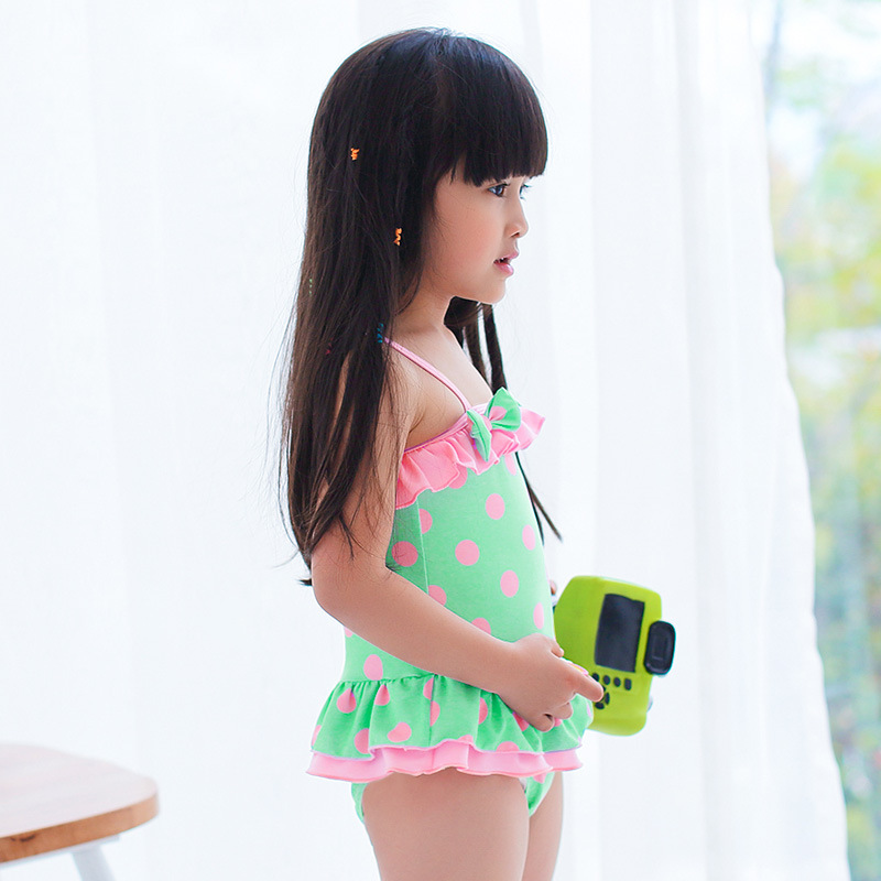 Bathing Suit Girls Korean-style Fashion Cute Dress-Triangular Tour Bathing Suit Children With Hat Hot Springs Swimwear