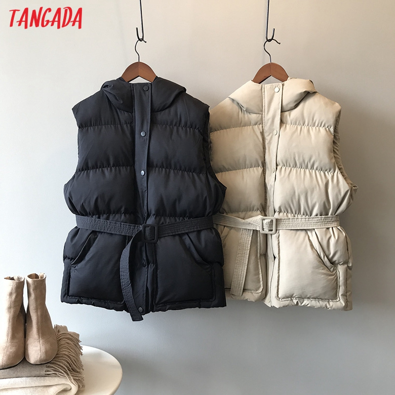 Tangada Women Solid Sleeveless Parkas With Slashes Hooded Zipper 2019 Winter Female Warm Long Coat Korean Fashion Jacket ASF01