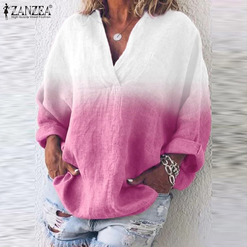 Women Patchwork Color Blouse ZANZEA Casual V-Neck Long Sleeve Dye Print Shirt Female Blusas Office Work Tunic Tops Plus Size 5XL