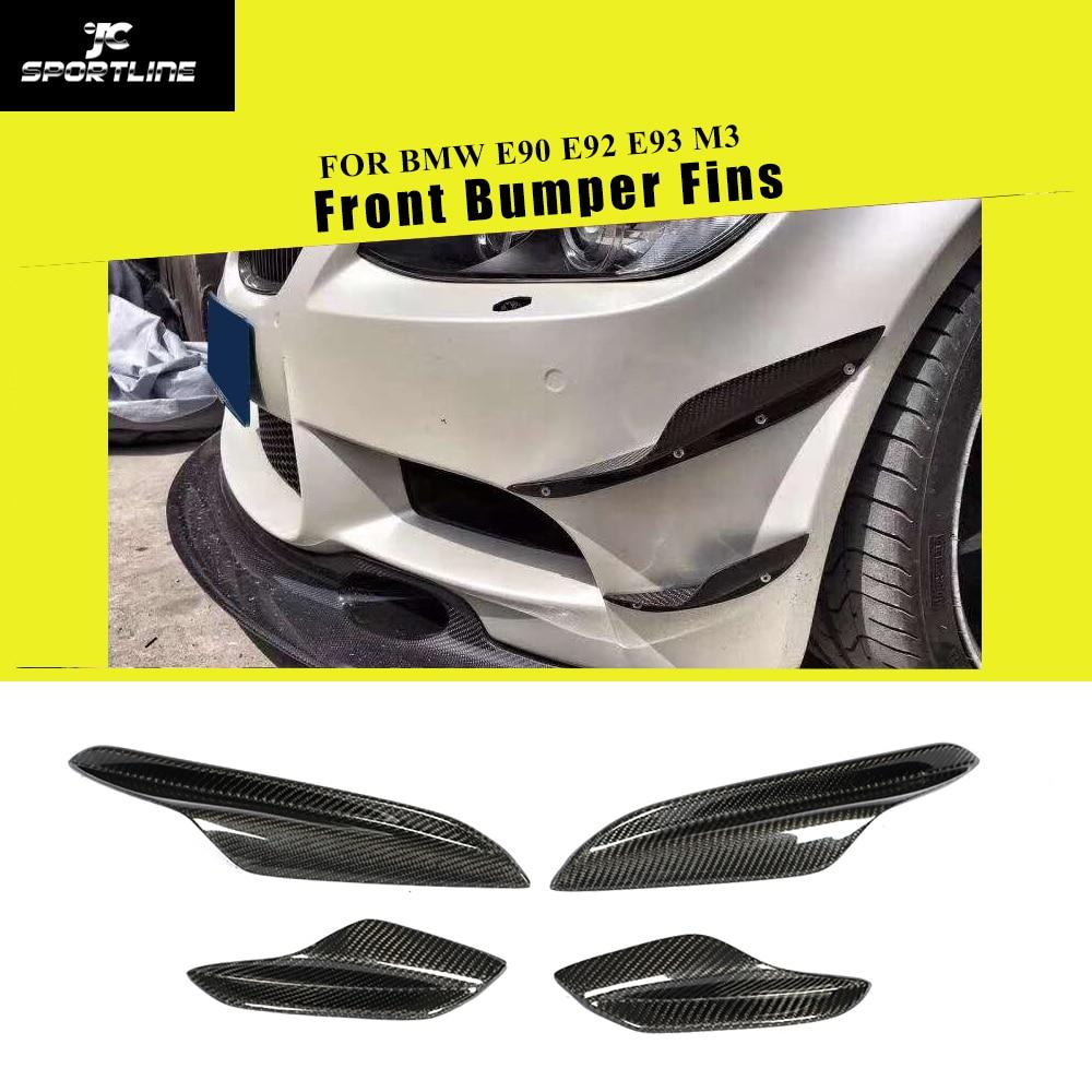 Carbon Fiber Front Bumper Splitters For BMW E90 E92 E93 M3 2005   2012 Front Bumper Canards Fins 4PCS Bumpers     - title=