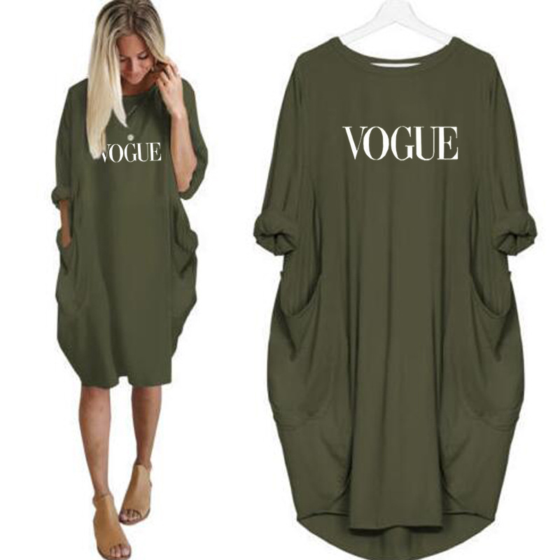 Vogue Printed Dress Women Summer Long Sleeve Loose Pocket Dresses Casual Oversized Lady Club Party Vestidos Plus Size S-5XL(China)