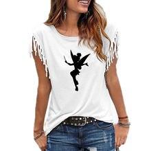 Camiseta estampada fofa e desenho feminina, camiseta de silhueta do tinkerbell, estampada com desenhos animados