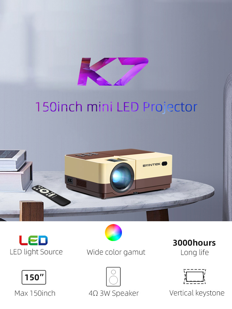 1080P Projector Video-Beamer Smartphone Wifi BYINTEK Android Home Theater Portable Optional