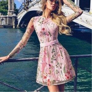 Image 3 - Áo Dài Tay Xanh Navy Hồng Thêu Cocktail Váy Áo Dây Hoa Dự Tiệc Sang Trọng Ngắn Năm 2019 Vestidos Homecoming Đầm