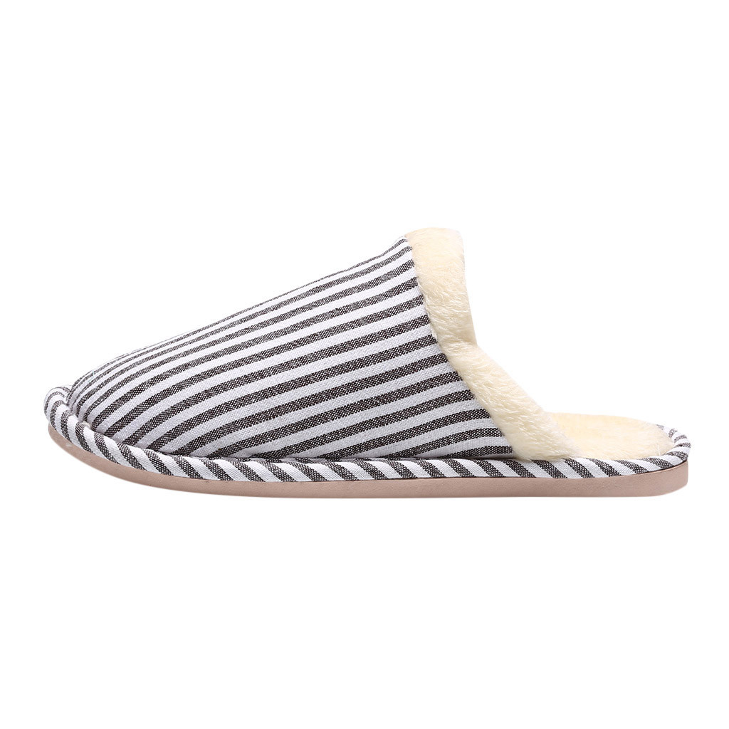Home Shoes Men Slippers Home Slippers Men Couples Striped Flock Warm Non-slip Floor Home Slippers Indoor Shoes Chinelo Kapcie