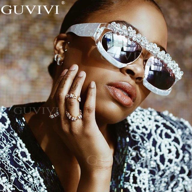 Crystal Diamond Sunglasses Women Luxury Brand Mirror Rhinestone Sunglasses Men One Piece Square Sunglasses Eyewear UV400