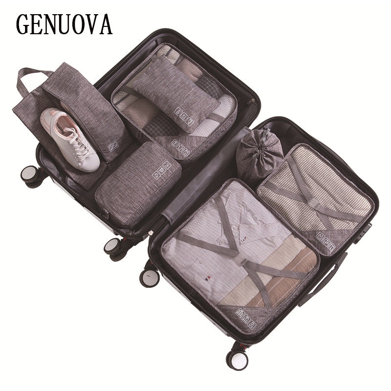 2019 Folding Travel Bag 7-piece Suit Luggage Organizer Bag Travel Supplies Suitcase Sorting Bag Clothes Packing Cubes Duffle Bag
