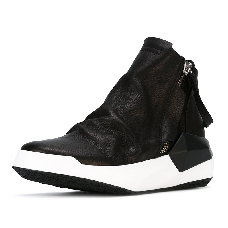 2020 New Men Shoes High-Top Ankle Boots Luxury Trainers Genuine Leather Sneaker Winter Boots Casual Brand Male Zip Black Shoes