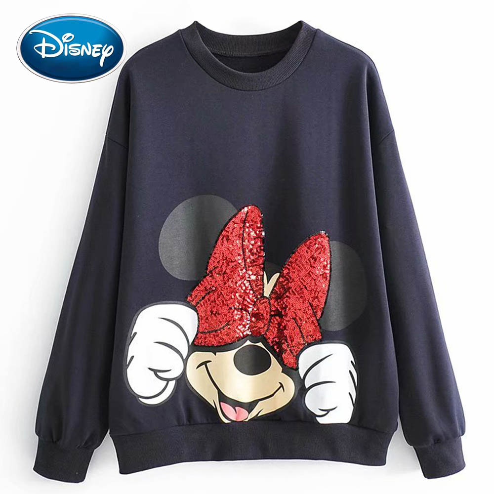 Disney Stylish Minnie Mickey Mouse Cartoon Print Bow Sequins O-Neck Pullover Women Sweatshirt Long Sleeve Harajuku Casual Top
