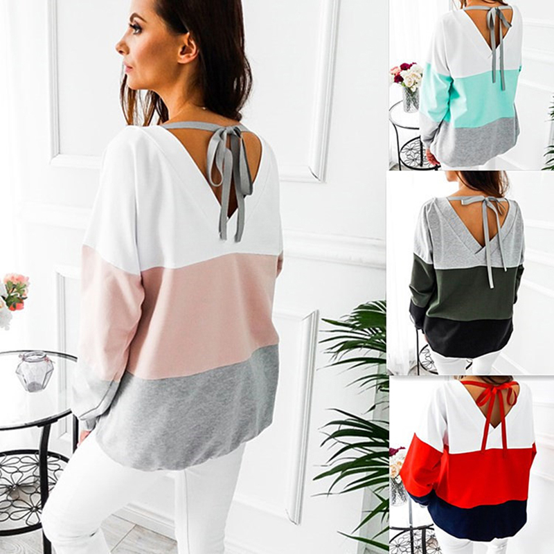 Spring 2020 Women Hoodies Stitching Contrast Back Strap Hoodies Autumn Elegant Women O-Neck Full Sleeve Patchwork Hoodies