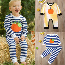 купить Cute Newborn Baby Girl Boy Halloween Pumpkin Embroidered Long Sleeve Tshirt Legging Stripe Fashion INS Clothes Costume festival дешево