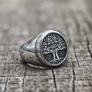 EYHIMD Silver Stainless Steel Tree of Life Signet Ring Classic Men Viking Amulet Rings Nordic Jewelry(China)
