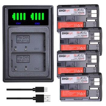 4X BP-511A BP-511 BP 511 BP 511A BP511 BP511A סוללה + LED USB הכפול מטען עבור Canon EOS 40D 300D 5D 20D 30D 50D 10D D60 G6