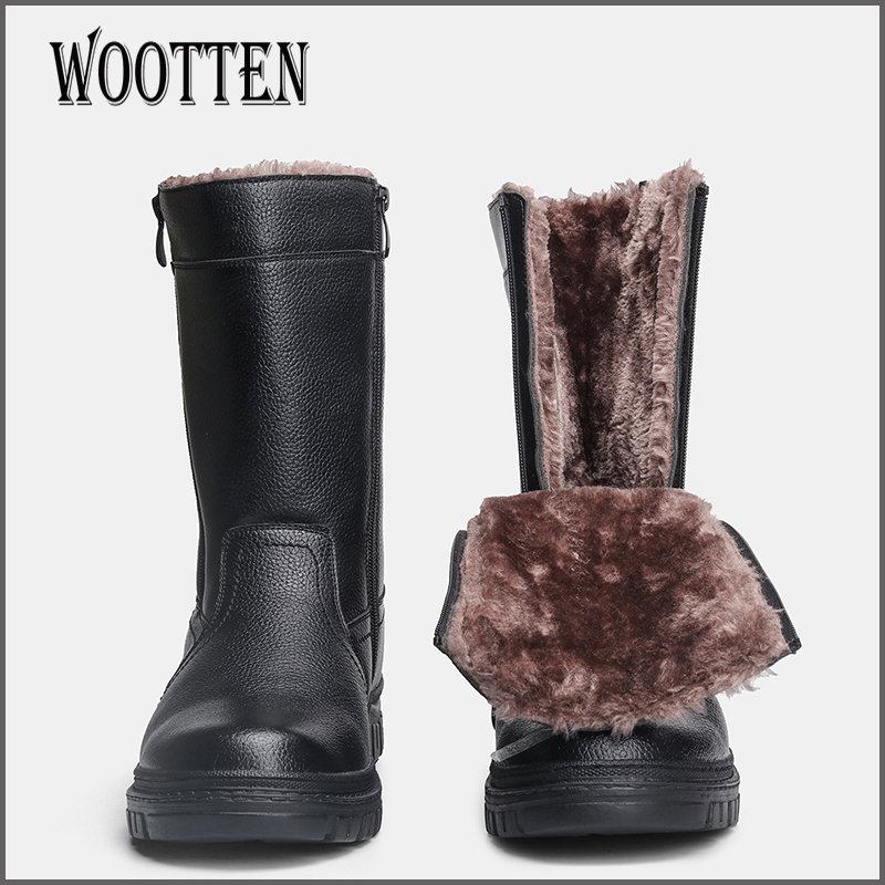 WOOTTEN Men boots Warmest Men Winter Shoes Leather